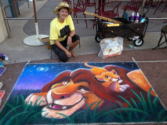 Lion King Under The Stars Chalk w/ artist by charfade