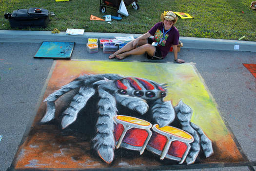 Spider Meme Chalk Art 2 by charfade