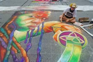 Michonne Chalk Art Progress by charfade