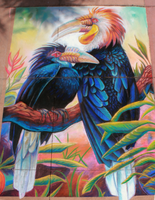 Wreathed Hornbills Chalkart by charfade
