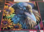 Raven in Sunflowers Chalk Art by charfade