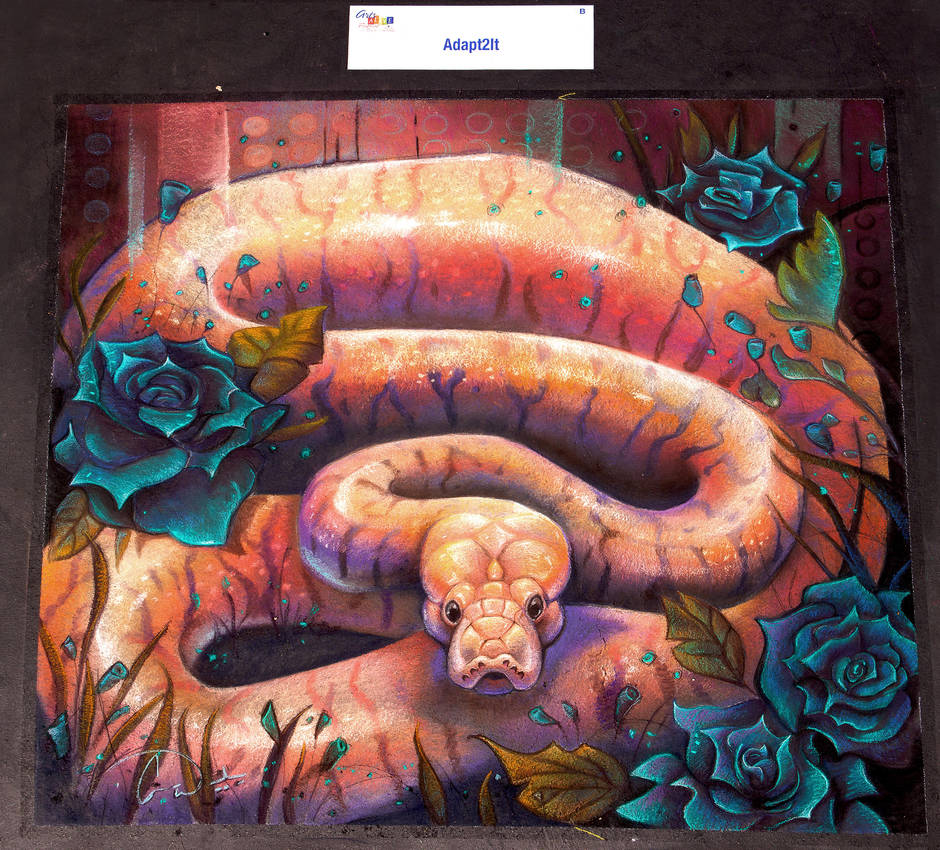 Ball Python Snake Chalk Art by charfade