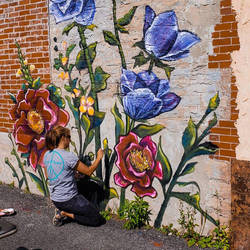 Flower Mural Lockport NY by charfade
