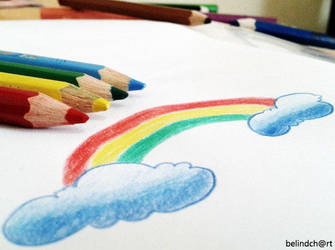 rainbow drops on my paper by belindch