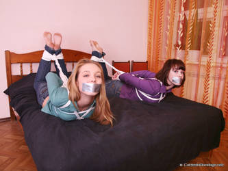 Alexa and Catt  are hogtied together by Stervus