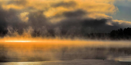 hazy mystical lake by KariLiimatainen