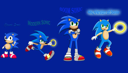 Drawcember Day 5 - The Four Faces of Sonic by dwaters220