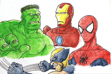 Marvel Heros - Watercolor Sketch by fieveltrue