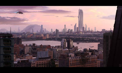 City Vista Matte Painting by Hideyoshi