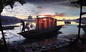 Sunset Fishing by Hideyoshi