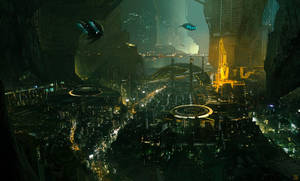 Eclipse Phase - Lunar Cave City by Hideyoshi