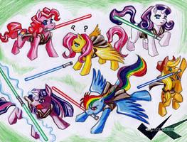 Commission: Jedi Ponies by jadenkaiba