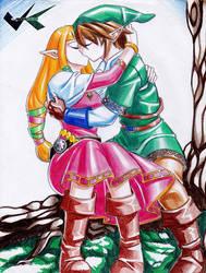 Commission: Link X Zelda Kiss by jadenkaiba