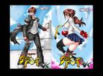 Comicon: Yui and Yusuke School Fight by jadenkaiba