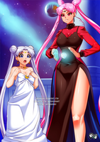 COMMISSION: Black Lady and  Queen Serenity by jadenkaiba
