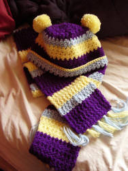 Crochet Galaxy Scarf + Hat by firepixie