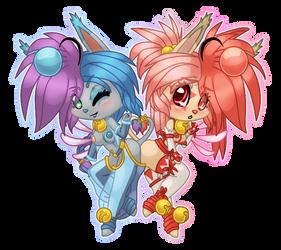 Naughty Chibis - Lulu + Celia by firepixie