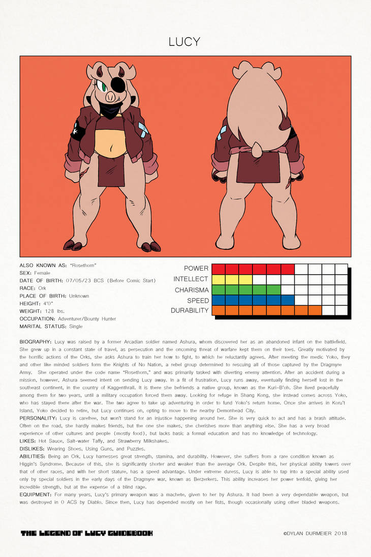The Legend of Lucy Guidebook: Lucy Bio by DylanDurmeier