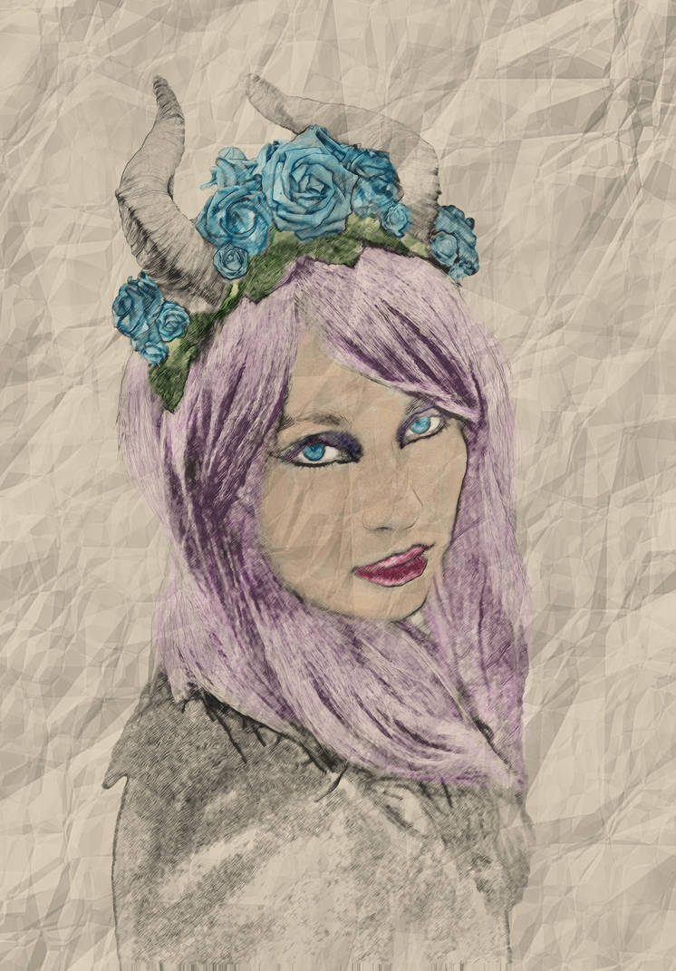 Female pencil drawing colour by jackiecrossley