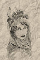 Female Pencil Drawing BW by JackieCrossley