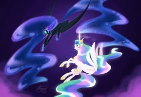 Celestia vs luna -commission- by bronyseph