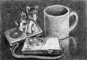 Ballpoint Pen Still Life - Pony,iPod,Camera by Brendavid