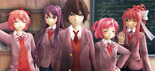 [DDLC MMD] The protag and his harem by AdaxMMD