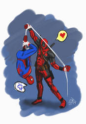 [spideypool]Deadpool: got you, Spidey~ by Jackpapa