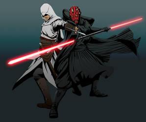 Altair vs. Darth Maul by doubleleaf