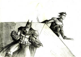 Batman and Nightwing traditional by Sabrerine911