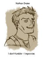 Daily Sketch 11: Nathan Drake by kingofsnake