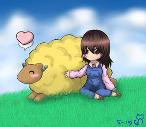 sheep n girl by einhazen