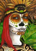 Calavera Aztec by TempestErika