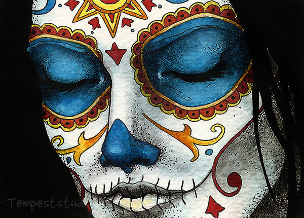 Day of the Dead Girl Four ATC by TempestErika