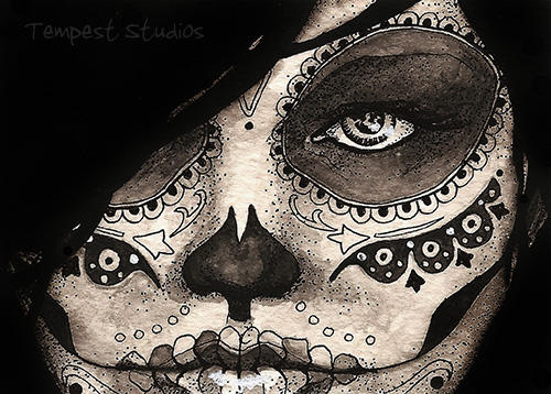 Day of the Dead Girl Five ATC by TempestErika