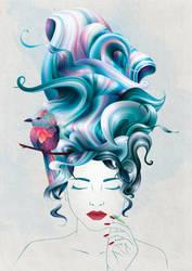 a girl with wavy hair by InnaAdamenya