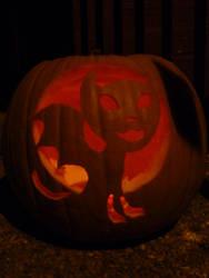 Demon Kitty Jack-o-lantern 2011 lit by TNHawke