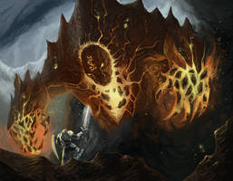 Saga Card Art - Ancient Magma Golem by Michael-Galefire