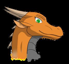Orange Dragon Head by BurningAshDragon