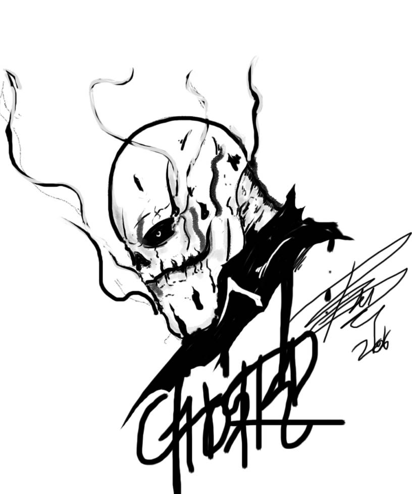 Custom ghost rider chopper sticker art by nuggetzisawesome