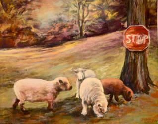 Sheep Grazing by Wulff-Arts