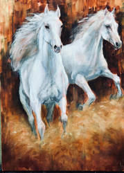 `WHITE HORSES RUNNING by Wulff-Arts