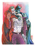 Joker X Batman Watercolor by Thundertori