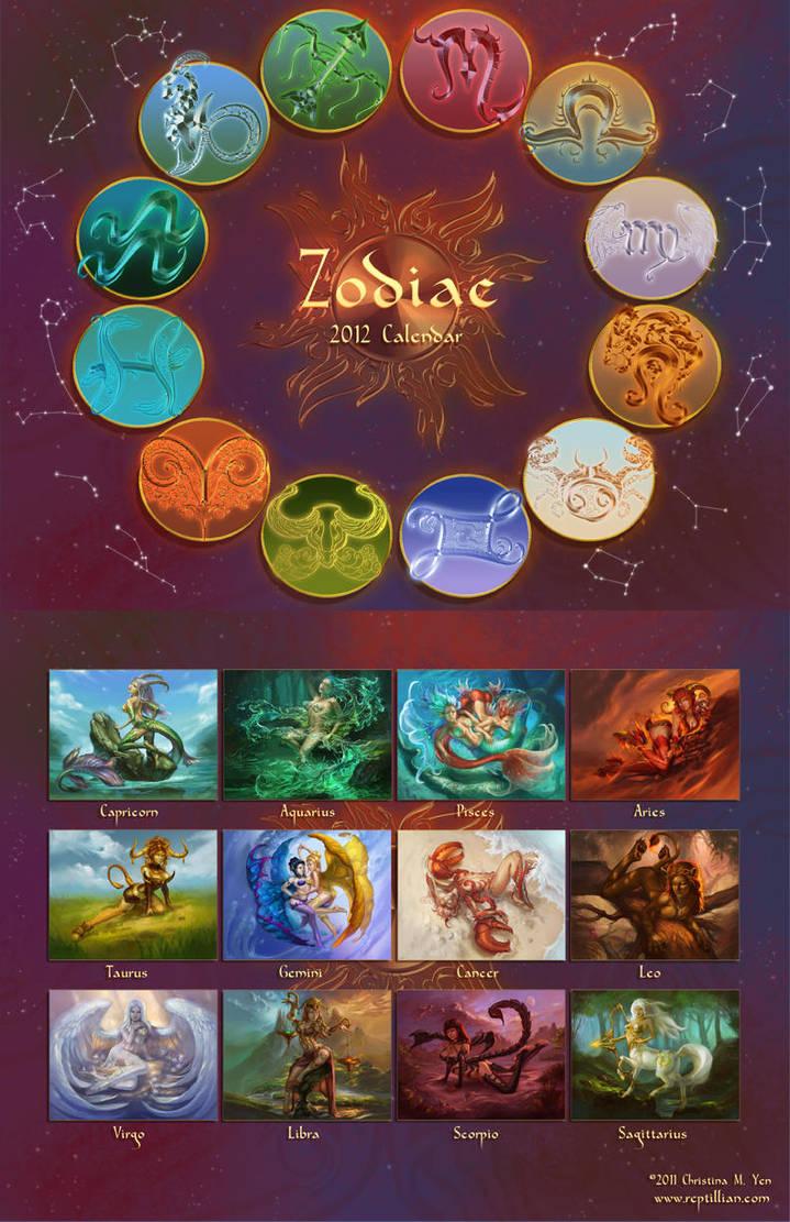Zodiac 2012 Calendar SALE by The-SixthLeafClover