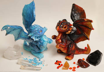Fire and Ice dragons by The-SixthLeafClover
