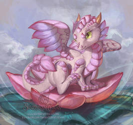 Lotus Dragon Hatchling by The-SixthLeafClover