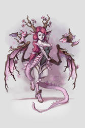 Cherry Blossom Dragon Girl by The-SixthLeafClover