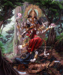 Hindu tiger goddess by The-SixthLeafClover