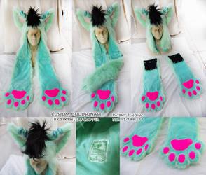 Minty Cat Custom Hoodsonas by The-SixthLeafClover