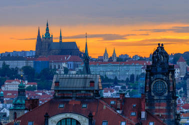 Prague Castle and rooftops by CyclicalCore